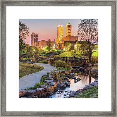 River To The Tulsa Oklahoma Skyline 1x1 Framed Print by Gregory Ballos