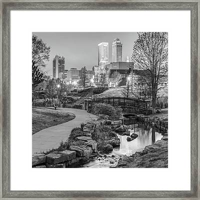 River To The Tulsa Oklahoma Skyline Black And White 1x1 Framed Print by Gregory Ballos