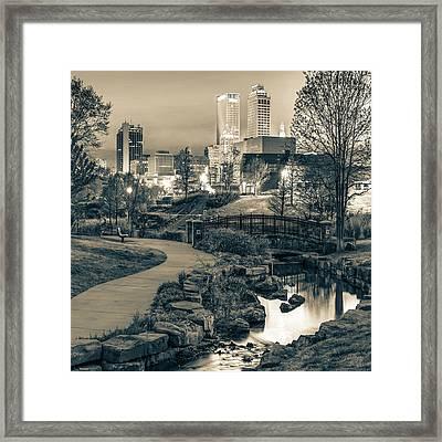 River To The Tulsa Oklahoma Skyline Sepia 1x1 Framed Print