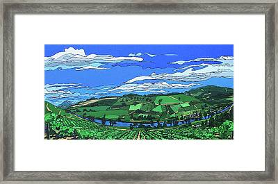 Framed Print featuring the painting River Valley Vineyard by John Gibbs