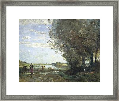 River View Framed Print by Jean-Baptiste-Camille Corot