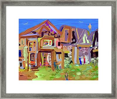 River Village Morning Framed Print