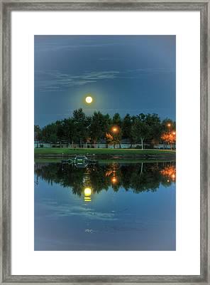 River Walk Park Full Moon Reflection 2 Framed Print