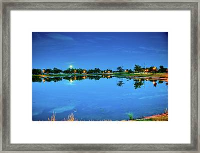 River Walk Park Full Moon Reflection 3 Framed Print