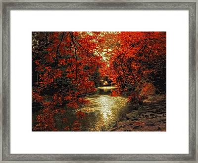 Riverbank Red Framed Print by Jessica Jenney