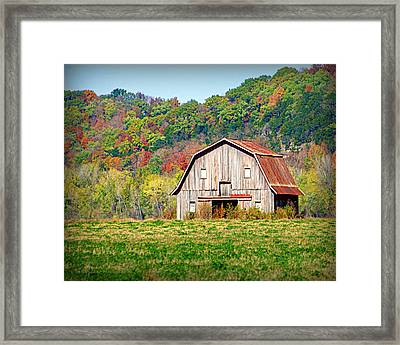 Riverbottom Barn In Fall Framed Print by Cricket Hackmann