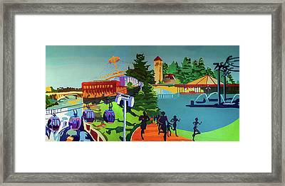 Riverfront Park In Color Framed Print