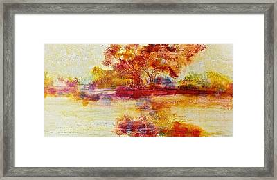 Riverscape In Red Framed Print