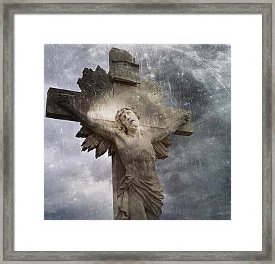 Riverside Cemetery Cross Framed Print