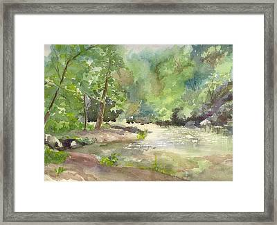 Framed Print featuring the painting Riverside Park by Yolanda Koh
