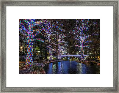 Framed Print featuring the photograph Riverwalk Christmas by Steven Sparks