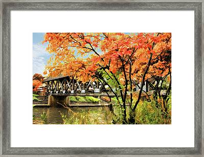 Framed Print featuring the painting Riverwalk Covered Bridge by Christopher Arndt