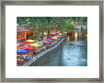 Riverwalk In San Antonio Framed Print by Tod and Cynthia Grubbs