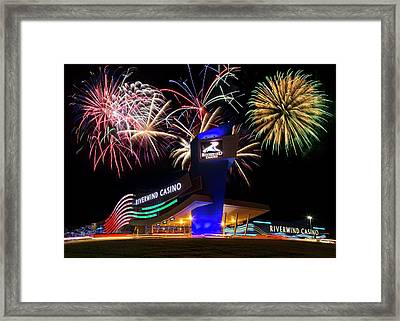 Riverwind Fireworks Framed Print