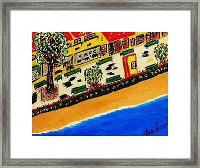 Riviera Beach Cafe Framed Print by Adolfo hector Penas alvarado