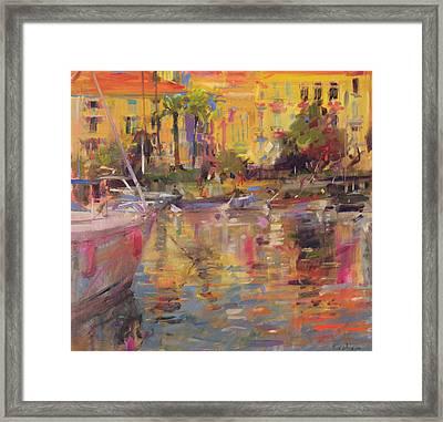 Riviera Moorings  Framed Print by Peter Graham