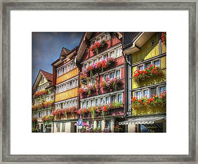 Framed Print featuring the photograph Row Of Swiss Houses by Hanny Heim