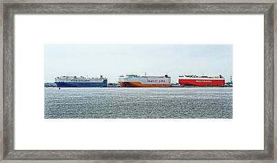 Framed Print featuring the photograph Ro Ro Freighters Lined Up At Curtis Bay by Bill Swartwout Fine Art Photography