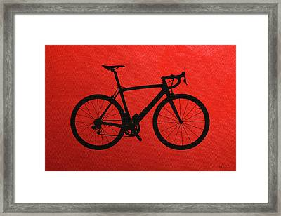 Road Bike Silhouette - Black On Red Canvas Framed Print