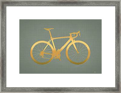 Road Bike Silhouette - Gold On Beige Canvas Framed Print