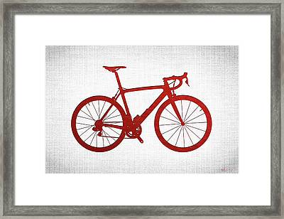 Road Bike Silhouette - Red On White Canvas Framed Print