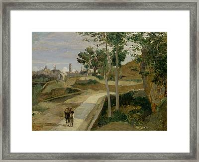 Road From Volterra Framed Print by Jean Baptiste Camille Corot