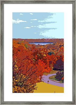 Road In Autumn Near Lake Monroe In Image Framed Print by Paul Price