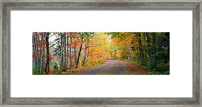 Road Passing Through A Forest, Keweenaw Framed Print by Panoramic Images