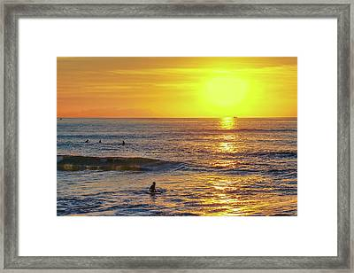 Bathing In The Warm Sea At Sunset Is A Great Pleasure Framed Print