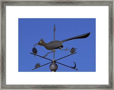 Framed Print featuring the photograph Road Runner Weather Vane by Joan Hartenstein