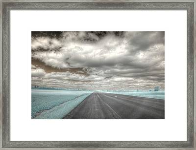 Road Sky Infrared Clouds Landscape Open Road Travel Path Road Trip Framed Print by Jane Linders