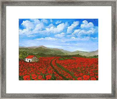 Road Through The Poppy Field Framed Print