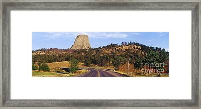 Road To Devils Tower Crossing Belle Fourche River Framed Print by Jeremy Woodhouse