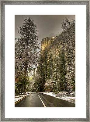 Road To El Capitan After Snow Storm At Sunrise Framed Print