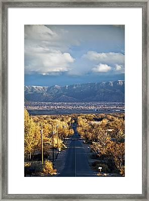 Road To Sandia Mountains Framed Print