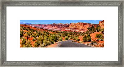 Road To The Rock Rainbow Framed Print