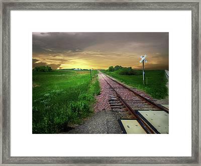 Road Track Crossing Framed Print