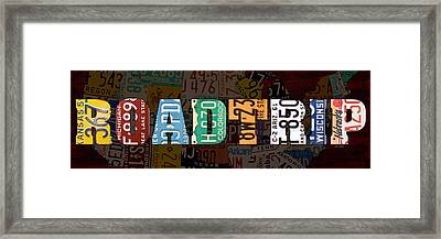 Road Trip Usa Map Recycled Vintage License Plate Lettering Phrase Framed Print
