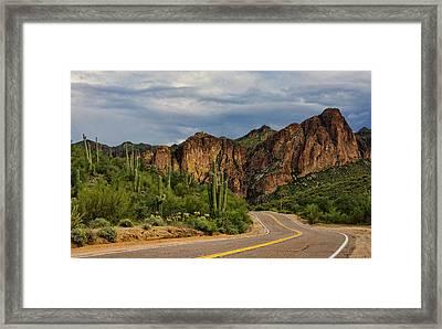 Road Trippin In The Sonoran  Framed Print by Saija Lehtonen