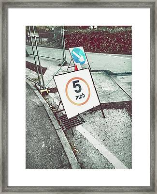 Road Works Sign Framed Print by Tom Gowanlock