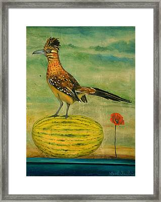 Roadrunner On A Melon Framed Print by Leah Saulnier The Painting Maniac