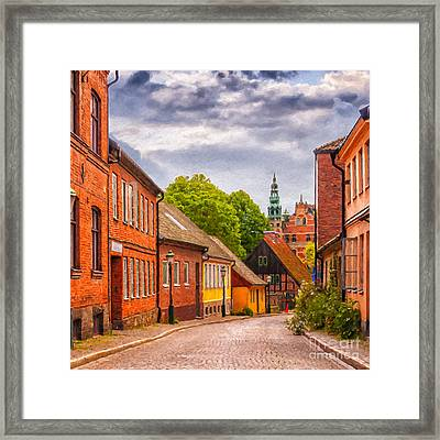 Roads Of Lund Digital Painting Framed Print