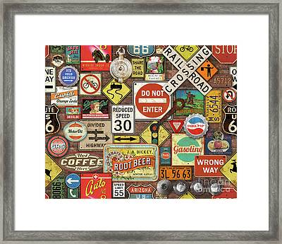 Roads Signs On Brick-jp3957 Framed Print by Jean Plout