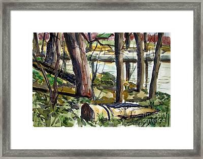 Roadside Park Along The Wabash River Framed Print by Charlie Spear