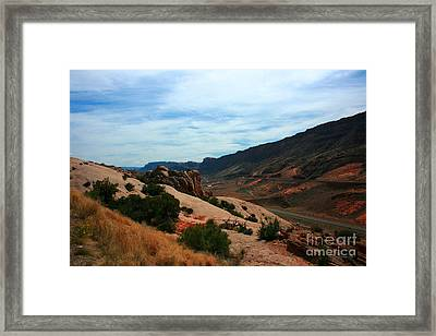 Roadway Rock Formations Arches National Park Framed Print