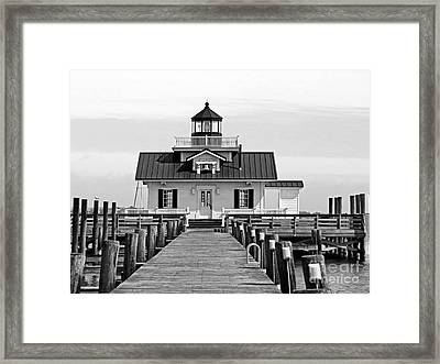 Roanoke Marshes Lighthouse Black And White Framed Print by Dawn Gari