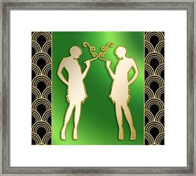 Framed Print featuring the digital art Roaring 20s Girls - Chuck Staley by Chuck Staley