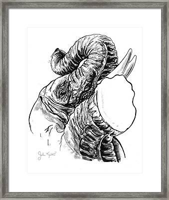 Roaring Elephant Framed Print by John Keaton