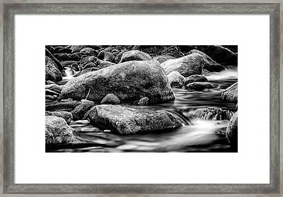 Roaring Fork Mossy Rock - Classic Bw Framed Print by Stephen Stookey