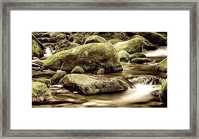 Roaring Fork Mossy Rocks - Sepia Framed Print by Stephen Stookey